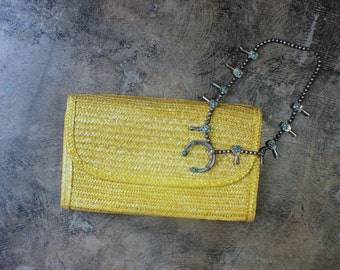 Large Woven Clutch / Oversize Yellow Straw Clutch / Vintage Envelope Purse