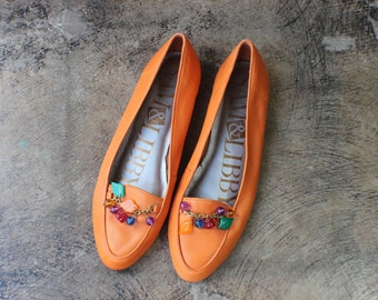 8 1/2 / 90's Fruit Loafers / Colorful Leather Flats / Vintage Orange Women's Shoes