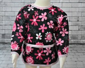 Shirt Saver Full Coverage Baby or Toddler Bib With Long Sleeves and Pocket- Waterproof - Flowers