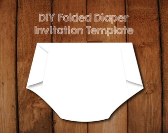 Folded Diaper Invitation DIY Template with Instructions - How to make your own Diaper shaped baby shower invitations