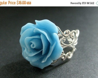 VALENTINE SALE Baby Blue Rose Ring. Sky Blue Flower Ring. Filigree Adjustable Ring. Flower Jewelry. Handmade Jewelry.