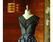 SALE / vintage 1950s blouse / 50s black sheer blouse / size large