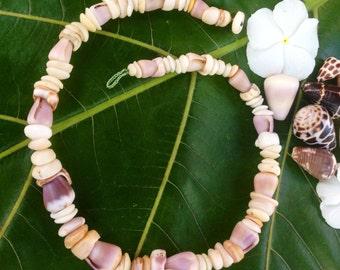 Puka Shell Necklace-Puka Shell Lei -Kauai Puka Shells Endemic  Kauai Made Hawaiian Style Gathered Eco Freindly Endangered reef Gems