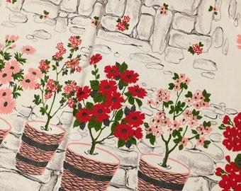 TABLECLOTH fabric pink floral geranium mid century cottage