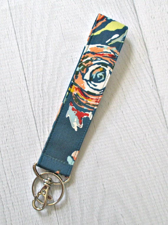 Teal Floral Key Fob | Wristlet Keychain with Flowers on Teal Background