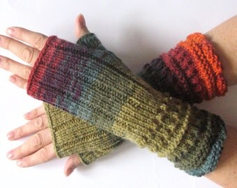 Fingerless Gloves Mittens wrist warmers Purple Blue Burgundy Red Orange Green Moss knit
