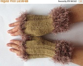 Fingerless Gloves Beige Brown Arm Warmers Mittens 8 inch Knit, Wool Acrylic