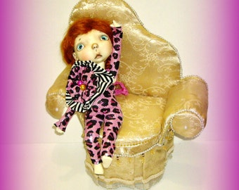 "Animal Print Jumpsuit, Handmade for 10"" Sprockets Doll by Connie Lowe Yo SD BJD, in Metallic Pink Leopard Print"