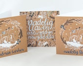 Multipack of Christmas Cards. Welsh and English Designs. Nadolig Llawen a Blwyddyn Newydd Dda Welsh Christmas Card.  2 of Each Design.