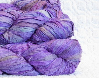 Sari Silk Yarn in Grape
