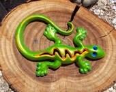 Cast Iron Gecko / Lizard / Home Decor / Garden Decor / Green Sparkle / Blue / Orange
