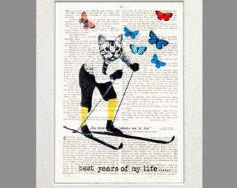 Cat Snow cat art print poster dictionary cat art wall decor cat illustration white cat butterflies fashion winter art