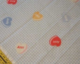 Vintage Fabric Raggedy Ann & Raggedy Andy Fabric Hearts