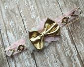 Light Pink and Gold Tribal Aztec Headband - Newborn/Infant/Toddler/Adult - Photography Prop- Pink Aztec Headband