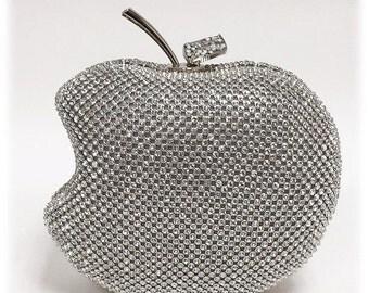 Wedding clutch, Apple clutch, Apple bag,formal clutch, Silver clutch, crystal evening bag, bridesmaid clutch, bridesmaid bag, crystal clutch