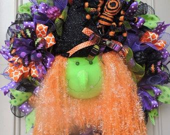Halloween Witch Wreath - Halloween Wreath - Halloween Door Wreath - Halloween Decoration - Mesh Halloween Wreath - 24 x 24 in. - Wall Decor