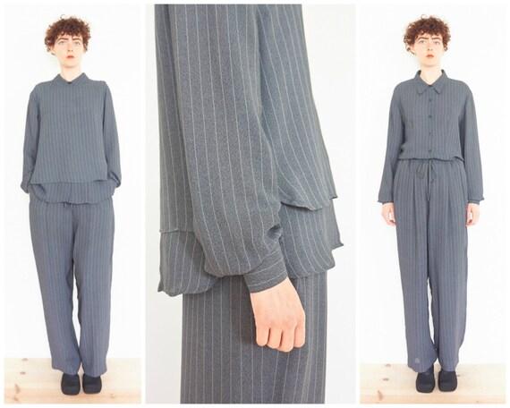 90s Minimal Sheer Grey Pinstripe Pant Suit / Three Piece