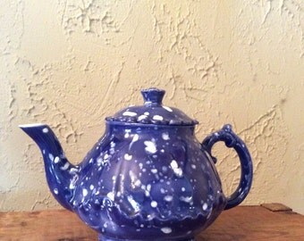 Vintage blue and white handpainted teapot