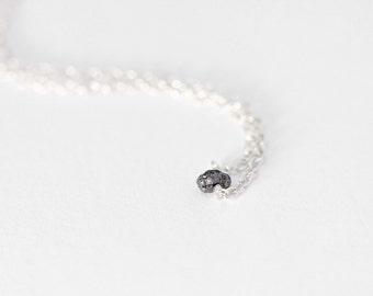 Raw Black Diamond Necklace - sterling silver raw diamond necklace, rough diamond necklace, minimal layer necklace