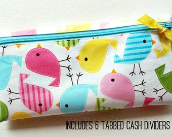 Cash budget envelope system wallet with 6 tabbed dividers | aqua, yellow, green, pink chicks designer laminated cotton