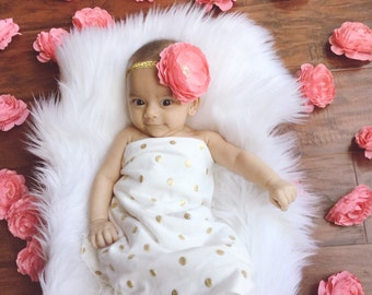 Coral and Gold Baby Headband - You Pick 1 - Coral Gold 1st Birthday - Baby Hairbow - Coral & Gold Bows - Gold Bows - Baby bows Sparkle Bows