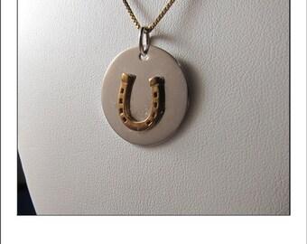Vintage Sterling Silver Horseshoe Pendant  Necklace