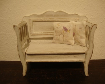 miniature dollhouse  sofa with chest  decorated shabby chic white  1/12 scale