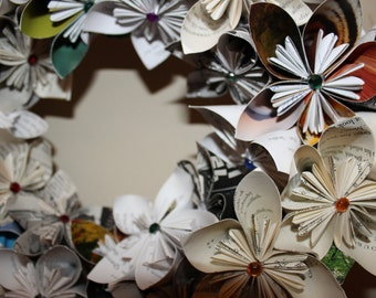 """Kusudama flower wreath - 14"""" - made from assorted recycled book pages"""