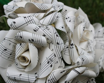 Sheet music roses - 50 paper roses made from sheet music