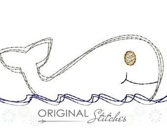 Whale Quick Stitch Machine Embroidery Design File 4x4 5x7 6x10 and more!
