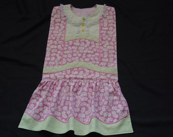 Daisies on Pink - Vintage Apron Style Adult Bib - for Special Occasions & Everyday Use