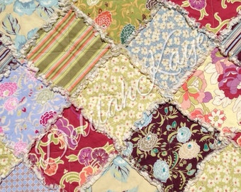 Ready To Ship - Rag Quilt - Queen Size -  Gypsy Caravan - Amy Butler - brown green red Modern Bedding