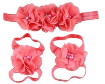 Complete Set 3.50 Coral Chiffon & Jewels Flower Satin Headband + Barefoot Flower Satin Sandal Handmade Baby Girls Sandals