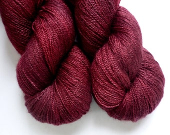 Hand Dyed Lace Yarn -  55/45 Superwash BFL/Silk Lace Weight Yarn in Cranberry Bog Colorway