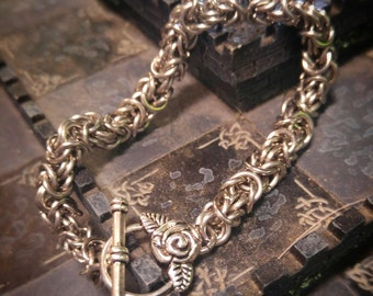 Beautiful Shiny Stainless Steel ChainMaille Byzantine Bracelet with Rose Toggle Clasp