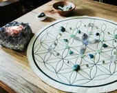 Quilted Organic Cotton Flower of Life Crystal Grid, Mini Quilt, Portable Crystal Grid, Travel Grid, Kid Safe Crystal Grid