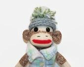 """8"""" Sock Monkey Toy, Sock Monkey in Fleece Vest, Sock Monkey stocking stuffer, sock monkey desk ornament,  sock monkey gift"""