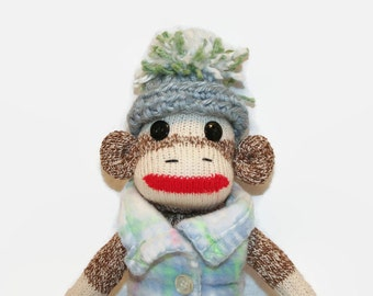 "8"" Sock Monkey Toy, Sock Monkey in Fleece Vest, Sock Monkey stocking stuffer, sock monkey desk ornament,  sock monkey gift"