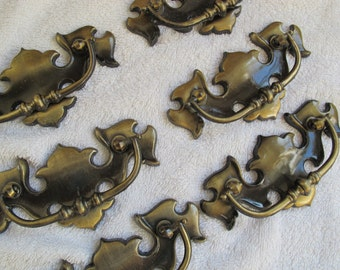 Salvaged Chippendale style drop drawer pulls 3 inch centres (6 available) / antiqued brass tone Liberty batwing dresser drawer pulls