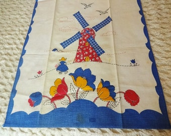 Old Fine Linen Tea Kitchen Towel Windmill