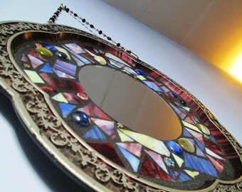 "Big Flower With Round Stained Glass Mosaic Mirror 13.5"" Vintage FlowerTin Tray Repurposed in Burgundy, Pink, Silver and Blue"