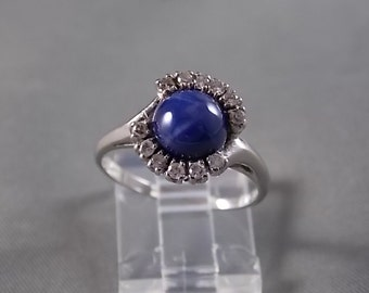 1960s Star Sapphire and Diamond Ring2.36Ctw White Gold 14K 4.3gm Size 7.75