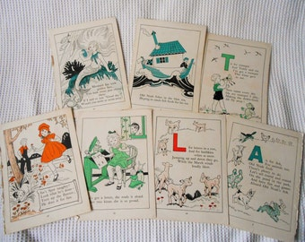 35 Childrens Book Prints double sided 1950s Book Page Vintage Ephemera
