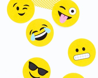 Printable Emojis Party Punchables - Cupcake Toppers or Table Confetti - Printable PDF Emoji Party Decor