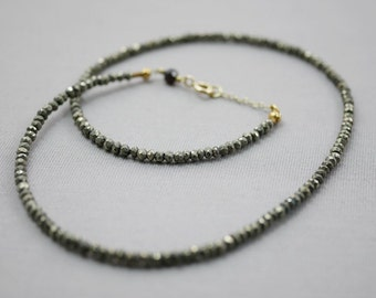 Gemstone Necklace Faceted Pyrite Gemstone Beaded Necklace 3mm