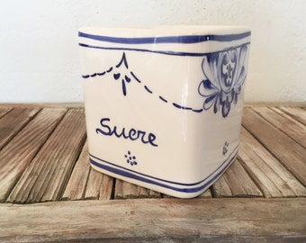 Vintage Blue and White Sucre Container