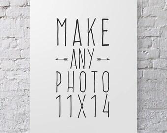 """Make Any Photo 11x14""""- Custom Sizing, Large Photo Print, Photo Enlargement, Large Wall Art, Photographic Home decor"""