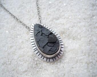 Black Garnet Pendant Artisan Jewelry