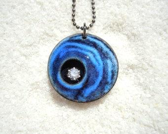 Blue and Black Swirl Pendant Artisan Jewelry Enamel Necklace gunmetal chain