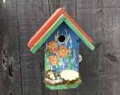 Birdhouse Hand Painted With Flowers Functional Bird House, Handmade Gardening Birdhouse Yard Art, Item #474531676